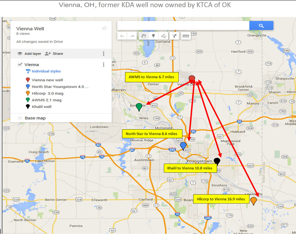 seismic active areas near proposed injection well NE Ohio map
