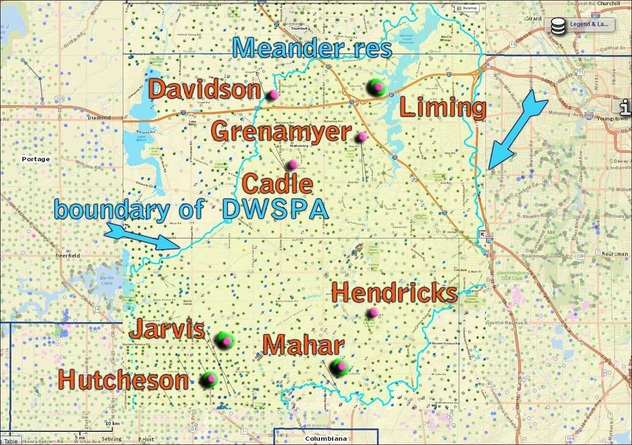 fracking wells and other natural gas wells in protected area around Meander Reservoir, Ohio