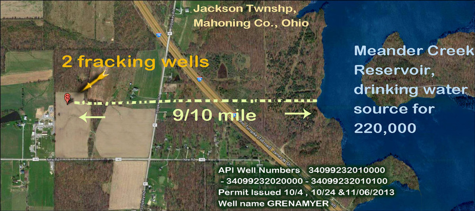 fracking wells on banks Meander Creek drinking water reservoir