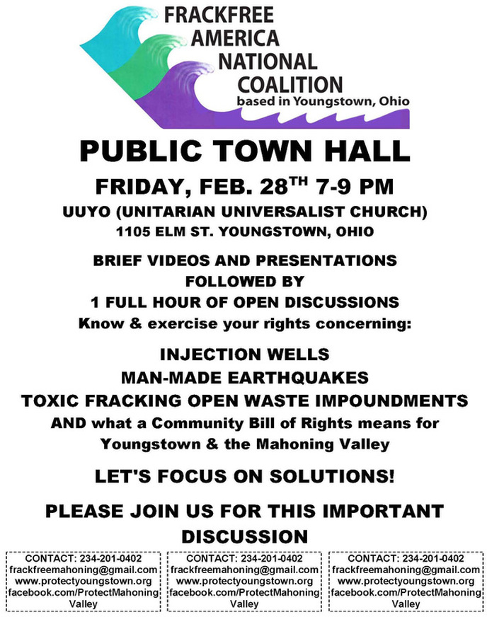 Youngstown, Ohio Public TownHall Feb 28 7-9pm